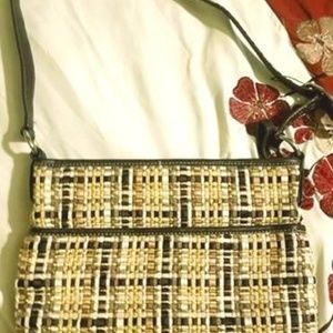 EUC Black, tan and cream plaid SAK handbag